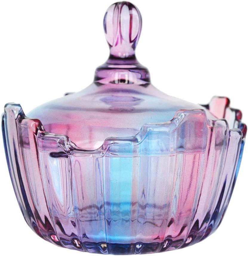 SOCOSY Royal Large Glass Candy Dish with Lid Purple Rainbow Clear Glass Apothecary Jar Candy Jar Wedding Candy Buffet Jars Food Jar (10oz)
