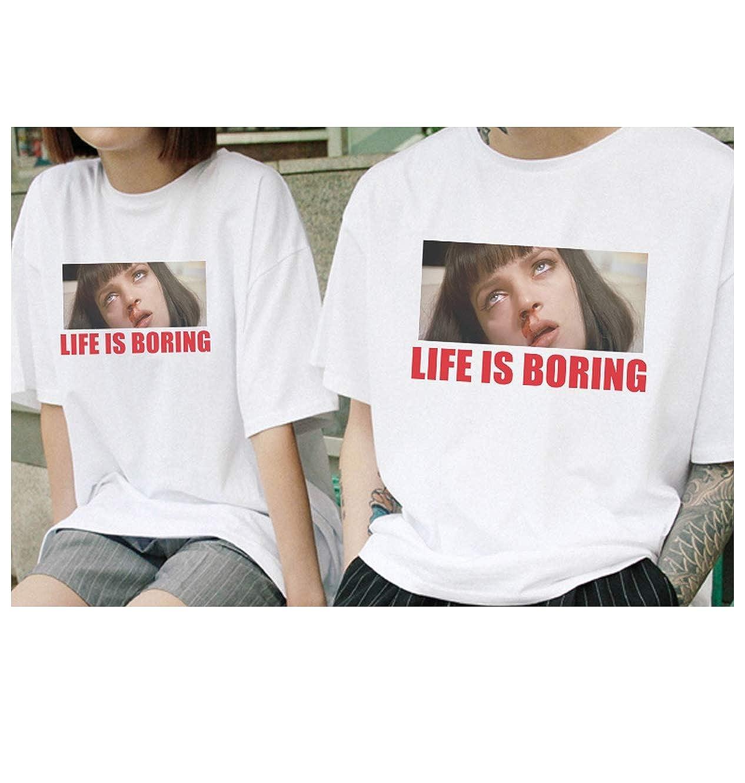 White Female T-Shirt Summer Novelty Tee Shirt Femme Life is Boring Letters Tshirt