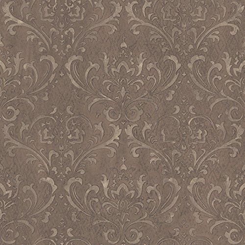 Galerie Wallcoverings STEAMPUNK G45171 Bronze Raised Tactile Surface Damask Wallpaper