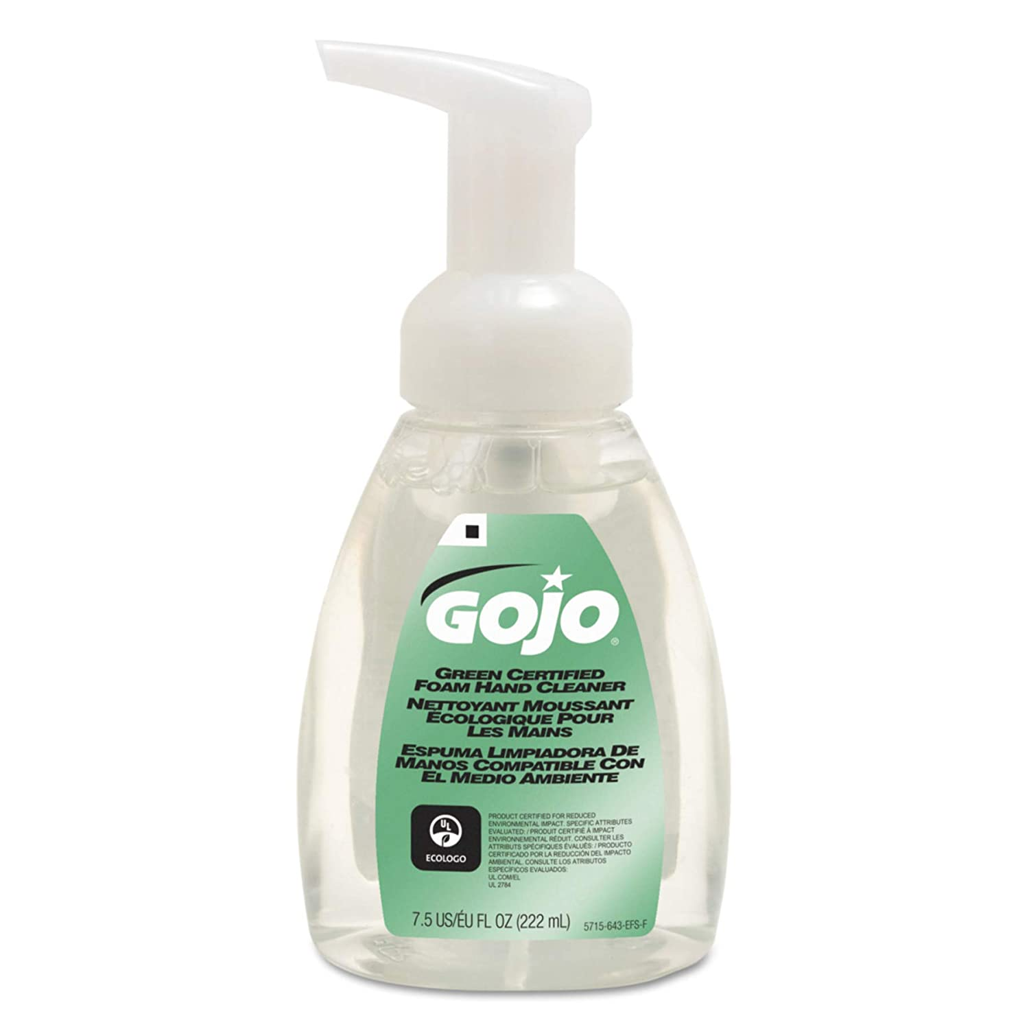 GOJO 5715-06 Green Certified Foam Hand Cleaner, 7.5 Fl Oz Pump Bottle, 6-Pack GOJO / Purell CA