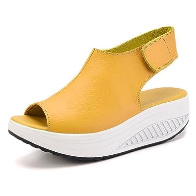 Zapatos Sandalias Plataforma Para De Dafenp Cuero Con Mujer v8nONmw0