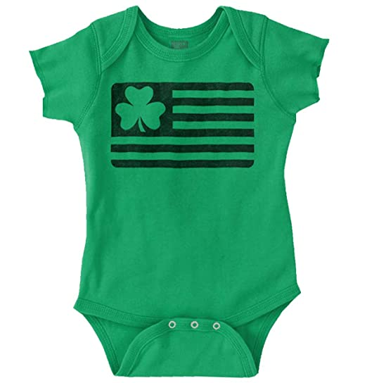7b3a387d8 Brisco Brands ST Patrick Day Funny Shirt Shamrock Flag Cool Gift Idea  PattyRomper Bodysuit,Irish
