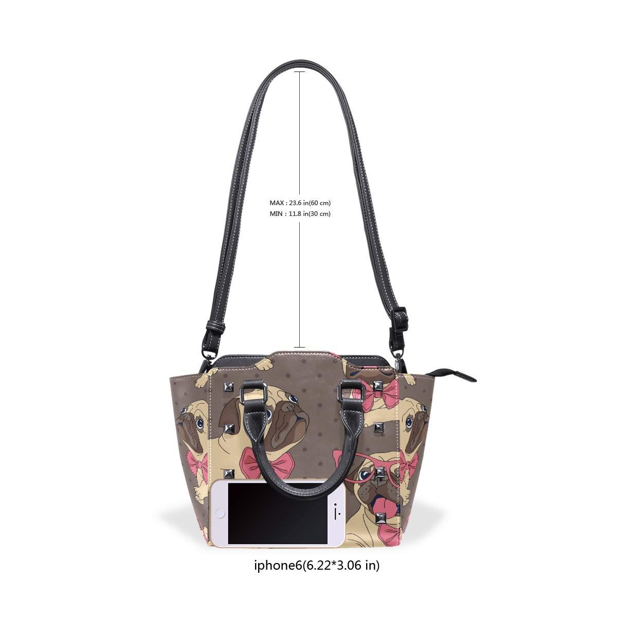 Polka Dot Dog Leather Handbags Purses Shoulder Tote Satchel Bags Womens