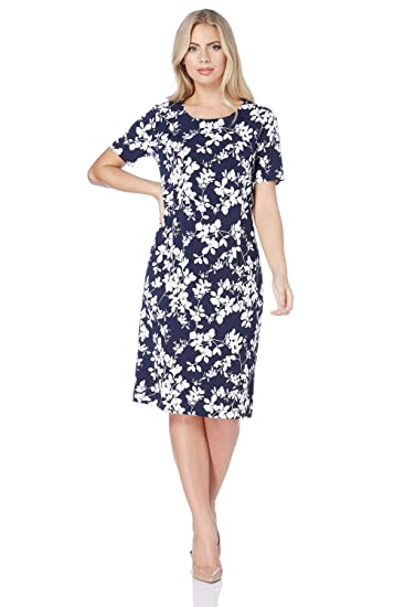cbc0c99826a9 ... Print Bodycon Dress in Black - Ladies Everyday Smart Casual 1940  Evening Work Office Meeting Comfortable Round Neck Knee Length Midi Jersey  Dresses