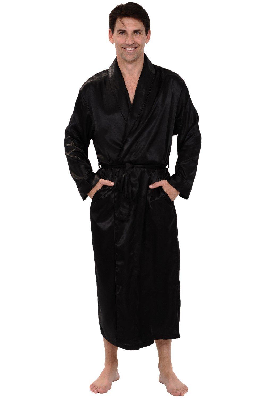 Alexander Del Rossa Mens Satin Robe, Long Lightweight Loungewear, Large Black (A0720BLKLG)