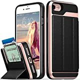 iPhone 8 Wallet Case, iPhone 7 Wallet Case, Vena [vCommute][Military Grade Drop Protection] Flip Leather Cover Card Slot Holder with KickStand for iPhone 8, iPhone 7 (Rose Gold/Black)