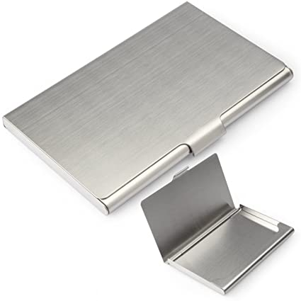 yobansa stainless steel silver business card holder business card case creidt card holder for men and - Silver Business Card Holder