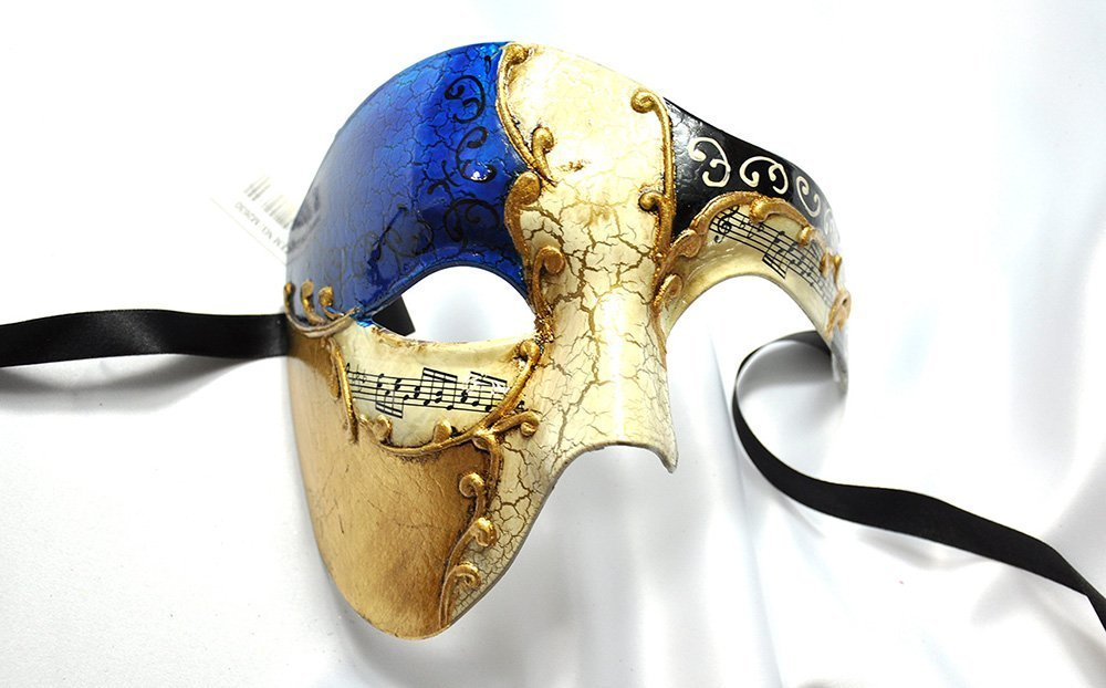 Phantom Masquerade Mask Half Face Men Phantom of the Opera Mask by Yacanna (Blue Gold)