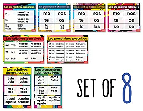 Amazon.com: Spanish Pronouns and Adjectives Charts (Set of 8): Industrial & Scientific