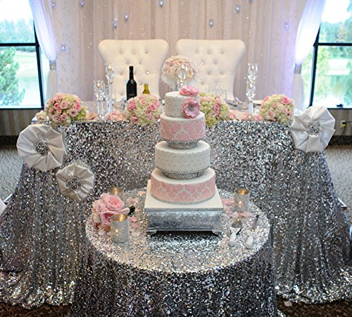 Cheapest 10PCS 120inch Round Sequin Tablecloth, Silver Table Cloth Sparkly Wedding Tablecloth Evening Party Decoration by LQIAO
