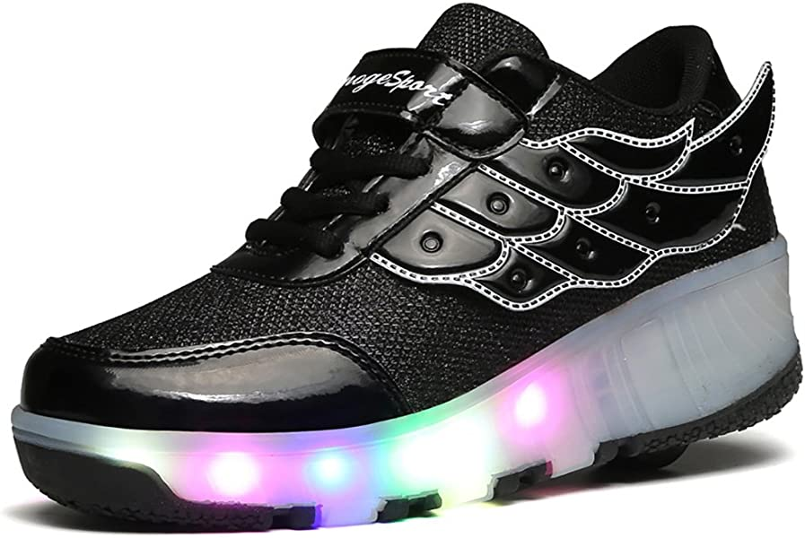 194eddc5f33d jlt Children Shoes Girls Boys Wing Led Light Sneakers Shoes with Wheel
