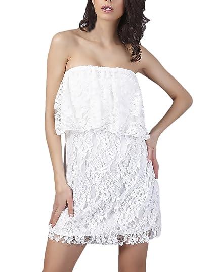 Vestidos Verano Mujer Elegantes Encaje Vestido Playa Sin Mangas Hombro Descubierto Volantes Bandeau Moda Casual Dresses