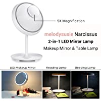 MelodySusie 2-in-1 Lighted LED Makeup Mirror Table Lamp