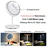 MelodySusie 2-in-1 Lighted Makeup Mirror Table Lamp, Touch Control LED, 180 Degrees of Angle Adjustment, Dual Power Supply, with Detachable 5X Magnifying Spot Mirror
