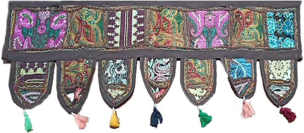 Essencea Rajasthani Style Handmade Door Toran | 39x14 inches | Brown | Cotton Embroidered Wall Hanging Home Decor Window Valances.