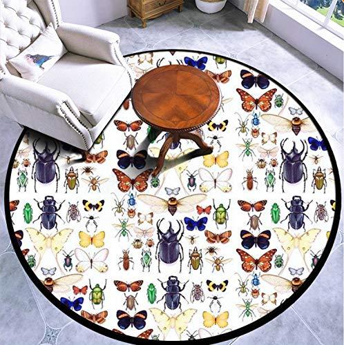 Round Area Rug Kids Carpet Playmat Non-Slip Throw Runner Rug Insect Collection Indoor Floor Carpet Door Mat for Bedroom Living Room Home Decor