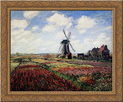 (Tulip Fields With The Rijnsburg Windmill 23x20 Gold Ornate Wood Framed Canvas Art by Monet, Claude)