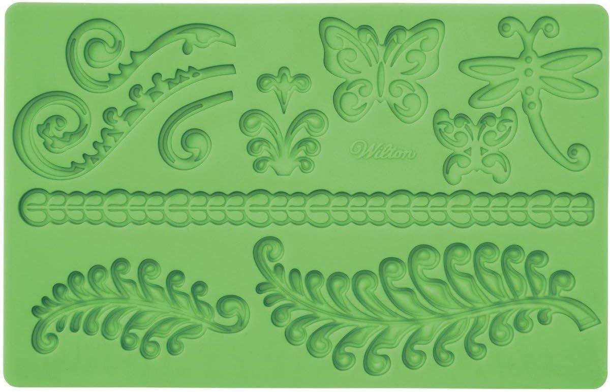 قالب تشكيل عجينة السكر والفوندان بنقشة رسومات بحرية أخضر من ويلتون