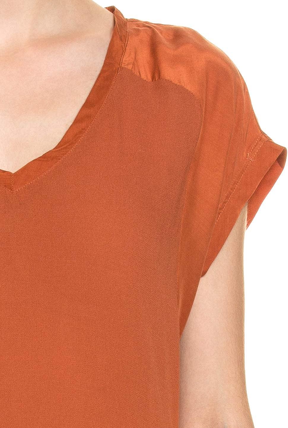 YAYA Short Sleeve Fabric Mix Dres Ladies Dress Baked Clay