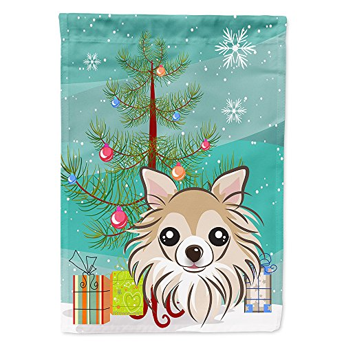 Caroline's Treasures BB1623CHF Christmas Tree and Chihuahua Canvas House Flag, Large, Multicolor