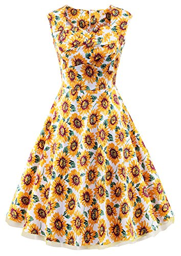 VOGVOG Women's 1950s Retro Vintage Cap Sleeve Party Swing Dress, Sunflower Yellow, Medium