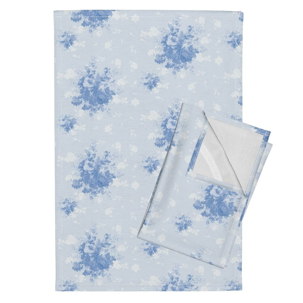 Roostery Country Bouquet Tea Towels Caroline Bouquet Blueberry by Lilyoake Set of 2 Linen Cotton Tea Towels