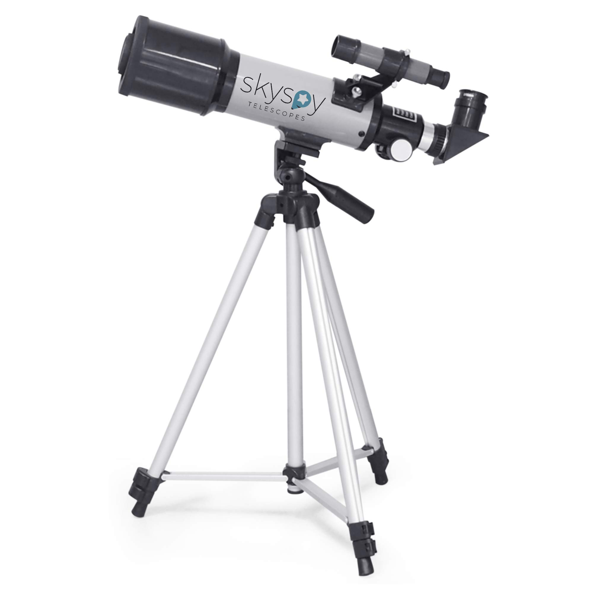 SkySpy 70mm Refractor Telescope with Extra Long Sturdy Tripod & Finder Scope, Portable with 3 Magnification eyepieces, Moon Mirror & Carrying case Great for Kids and Beginning Astronomers by SkySpy Telescope