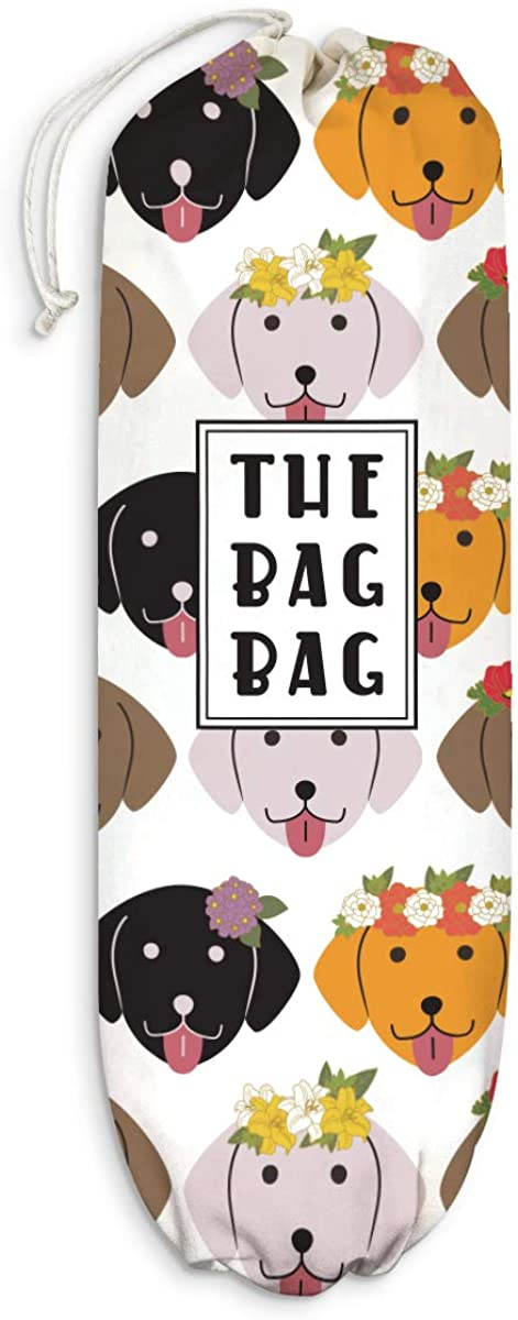 """Fancy Floral Dogs Plastic Bag Holder Dogs Pattern Grocery Shopping Bags Carrier Storage Organizer Dispenser Dog Collective Home Decor Gift for Housewarming Dog Lover Extra Large(23"""" x 9"""")"""