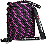 Cheap EliteSRS 40ft 2″ Battle Rope Kit Fitness Workout – Sleeve – Anchor Straps (Purple)