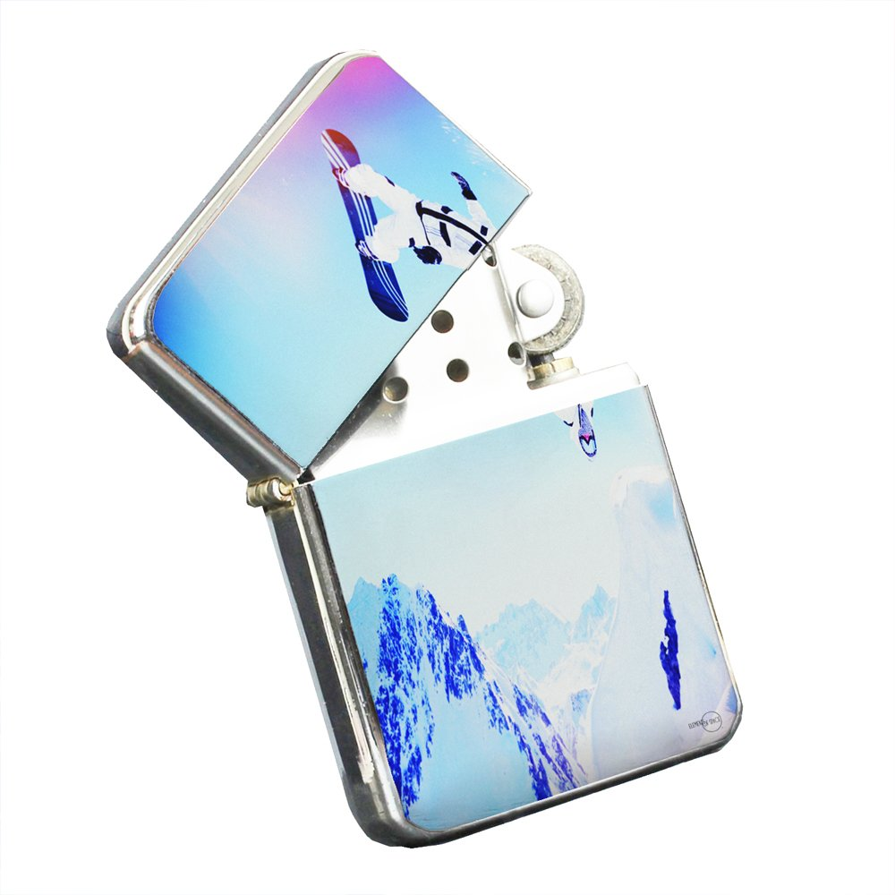 Snowboarding Extreme - Silver Chrome Pocket Lighter by Elements of Space by Elements of Space