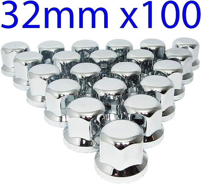 Mgf Chrom Kunststoff Radmutterkappen 32 Mm Schutzabdeckungen Für Lkw Anhänger 100 Stück Auto