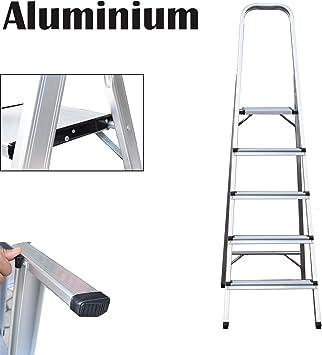Escalera de 5 peldaños, escalera plegable de aluminio, portátil, con capacidad de 150 kg: Amazon.es: Bricolaje y herramientas