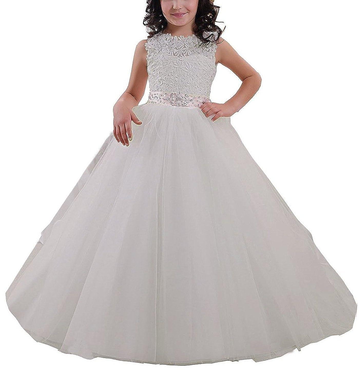 VIPbridal Vestido largo de niña de flores de encaje rebordear vestidos de bola de tul primera comunión: Amazon.es: Ropa y accesorios