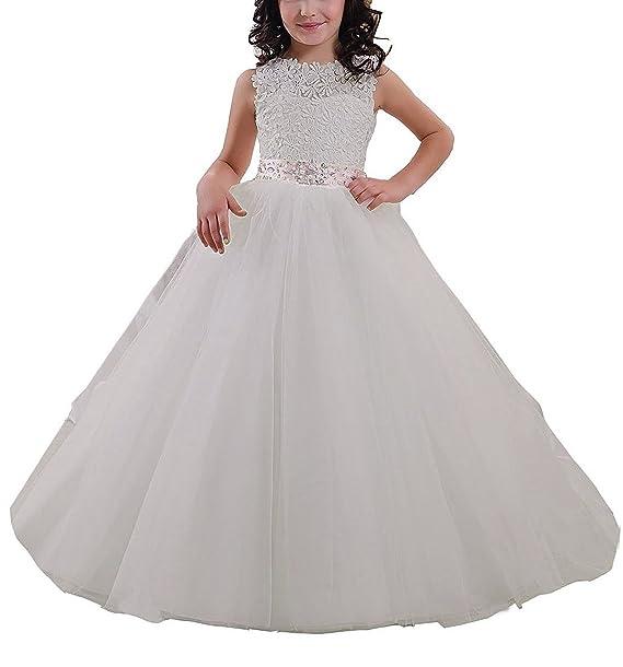 VIPbridal Vestido largo de niña de flores de encaje rebordear vestidos de bola de tul primera