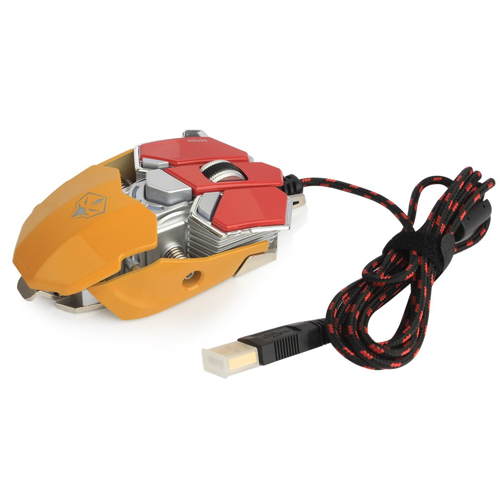 YCCTEAM Gaming Mouse with 4,000 DPI, Programmable 9 Buttons, USB Wired Gaming Mice for Pro Gamer (Red&Yellow)