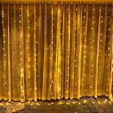 BlueSpace Outdoor LED String Lights Waterproof Window Curtain Lights Indoor Fairy Light 10ft for Xmas Wall Garden Home Decor Patio Lawn Wedding Halloween Party (Warm White)