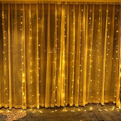 D String Lights Waterproof Window Curtain Lights Indoor Fairy Light 10ft for Xmas Wall Garden Home Decor Patio Lawn Wedding Halloween Party (Warm White) ()