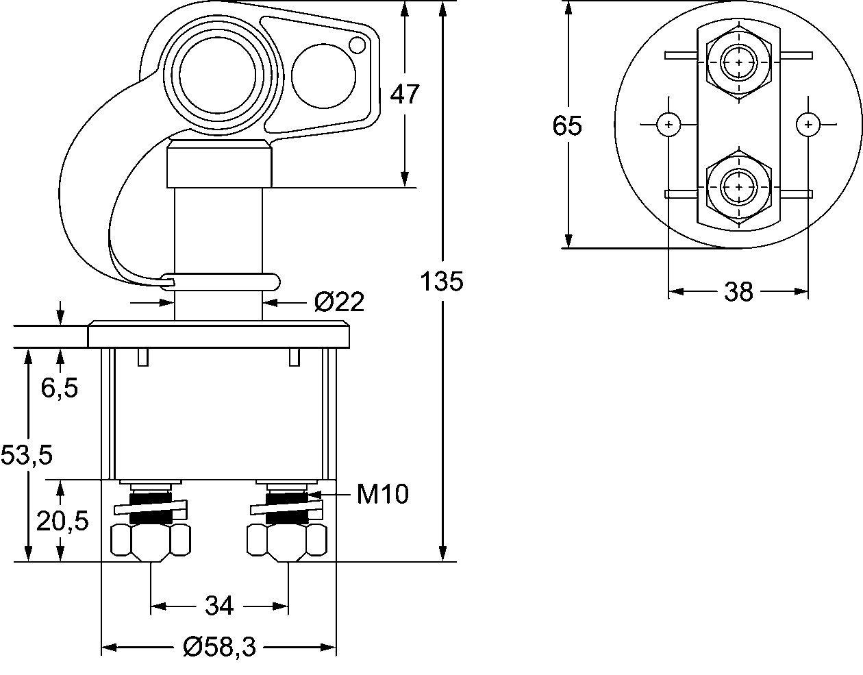 250A HELLA 6EK 002 843-131 Hauptschalter Batterie