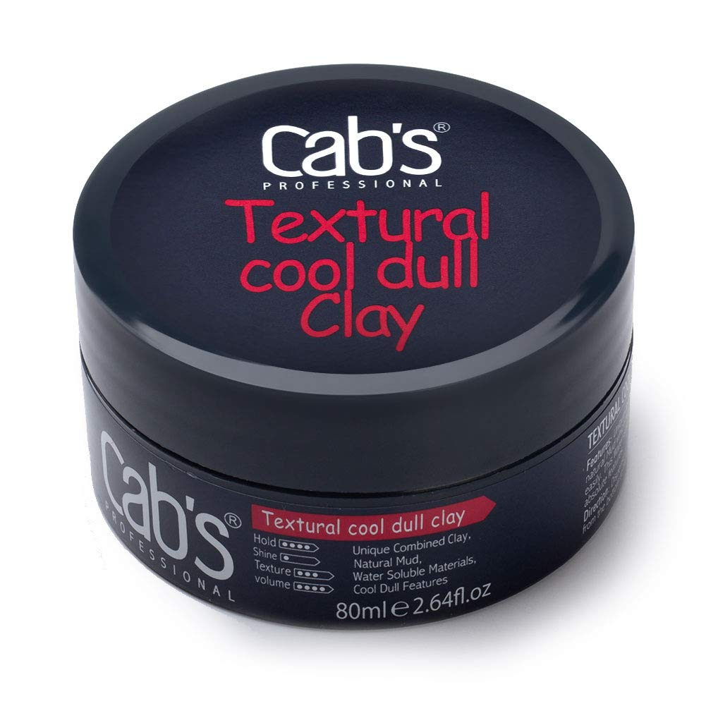 Cab's Textural Cool Dull Hair Clay for Men with Matte Finish Molding Hair Wax Paste, Strong Hold Without The Shine - [2.82 oz / 80 g] by Cab's