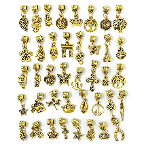 JIALEEY 40Pcs Antique Gold Dangle Charm Beads, Dangle Spacer Beads Bails Connector with Multistyle Pendant Charm Dangler for DIY Bracelet Necklace Jewelry Making