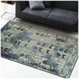 Superior Havoc Collection Area Rug, 10mm Pile Height with Jute Backing, Fashionable and Affordable Rugs, Distressed Vintage Moroccan Rug Design – 5′ x 8′ Rug, Blue, Cream, and Black For Sale