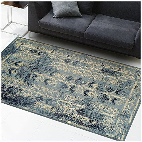 Superior Havoc Collection Area Rug, 10mm Pile Height with Jute Backing, Fashionable and Affordable Rugs, Distressed Vintage Moroccan Rug Design – 8′ x 10′ Rug, Blue, Cream, and Black