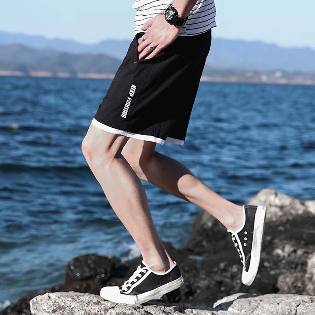 Palarn Sports Pants Casual Cargo Shorts Mens New Summer Casual Loose Belt Drawstring Cotton Hemp Beach Shorts Pants