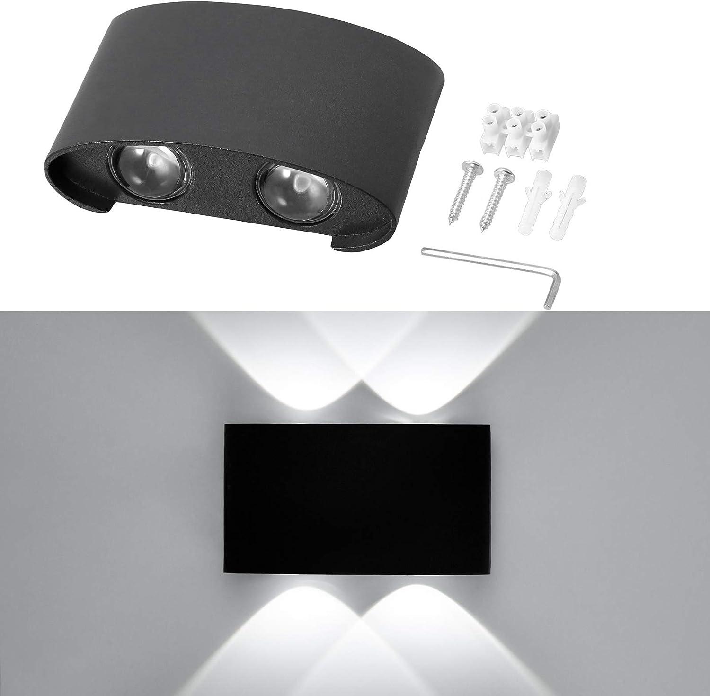 Erwei Wandleuchte LED Innen Wandlampe LED Wandlicht Wasserdicht IP65 Spotlicht Wandbeleuchtung Modern Lampen Spotlicht Wasserdicht Wandleuchte aus Aluminium Wei/ß 16W Warmwei/ß