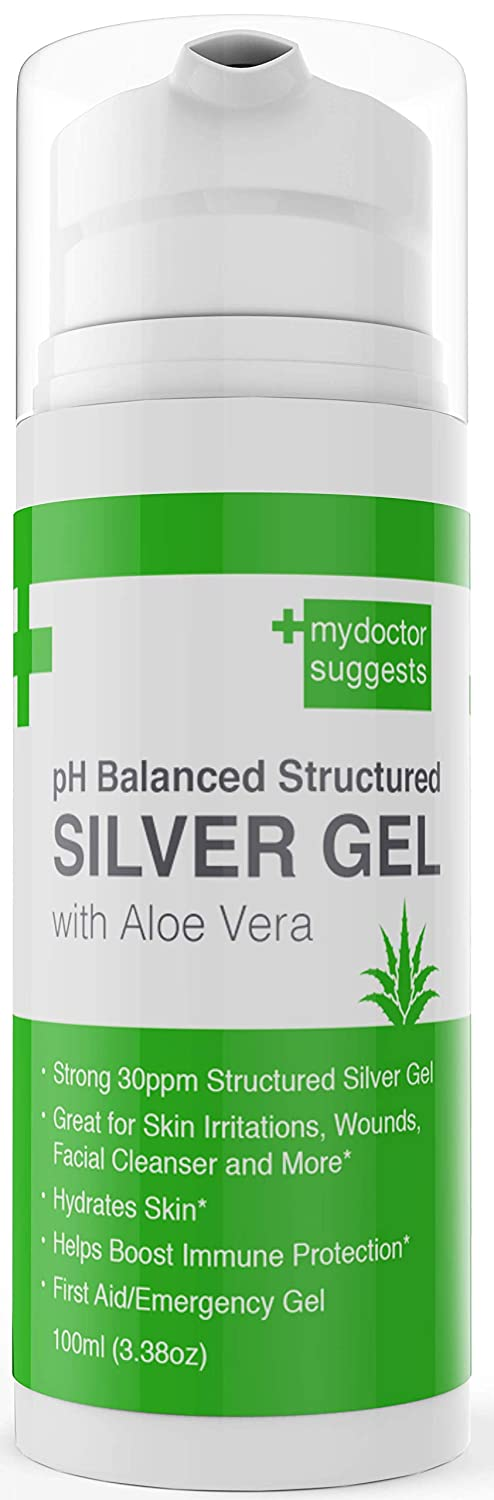 First Aid Silver Gel: pH Balanced Silver Gel with Aloe Vera - Strong 30ppm Colloidal Silver Gel in a 3.38oz Easy Pump: Best Used for Cuts, Scrapes, Burns, Wound Care, Acne or Rashes