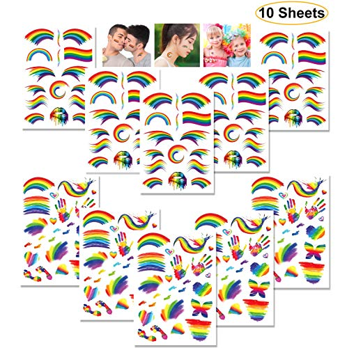 Rainbow Temporary Tattoos, Kissbuty 10 Sheets Waterproof Rainbow Flag Tattoo Stickers Pride Tattoos for Pride Equality Parades and Celebrations