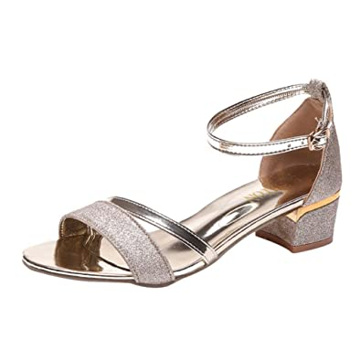 8aa77ae5cb Lolittas Summer Glitter Sandals for Women Ladies, Comfortable Sequin Low Block  Heels Peep Toe Cushioned