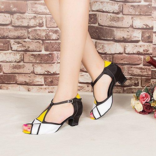 Miyoopark , Damen Tanzschuhe , weiß - White/Yellow-5cm heel - Größe: 35