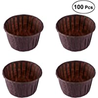BESTONZON 100pcs Cupcake Papers Baking Cup Liners Cupcake Wrappers Greaseproof Muffin Paper Baking Cups (Chocolate)