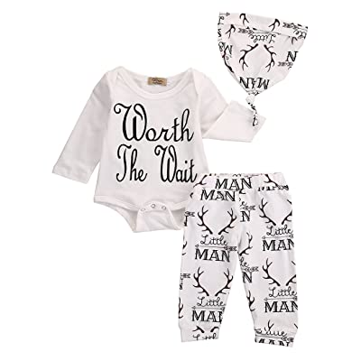8fecc884fd092 3Pcs Infant Baby Girl Boy Coming Home Outfit Set,Letter Printed Cotton Tops  Romper+Litter Man And Deer Printed Long Pants with Hat